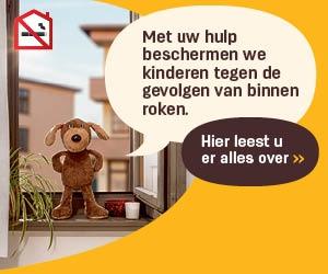 Campagne Nooit binnen roken: Beertje dat hulp vraagt om kinderen te beschermen